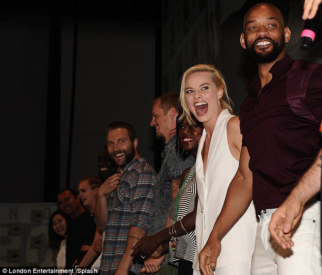 The lineup! Margot, who plays Harley Quinn in Suicide Squad, was all smiles with her co-stars on stage, including fellow Aussie Jai Courtney who plays Captain Boomerang, Will Smith as Deadshot, Adewale Akinnuoye-Agbaje as Killer Croc and of course Cara who is set to play The Enchantress