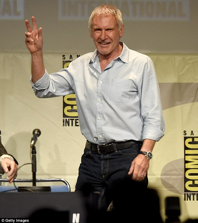 Back in action: The Star Wars star received a standing ovation at Comic-Con in San Diego on Friday in what was his first public appearance since breaking his pelvis and ankle in the crash landing of his vintage plane