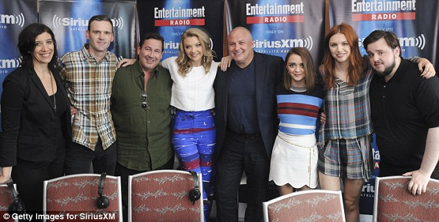 All together now: Radio hosts Jessica Shaw and Dalton Ross quizzed GoT director David Nutter and actors Natalie Dormer, Conleth Hill, Maisie, Hannah Murray and John Bradley during SiriusXM's Entertainment Weekly Radio Channel Broadcasts From Comic-Con 2015