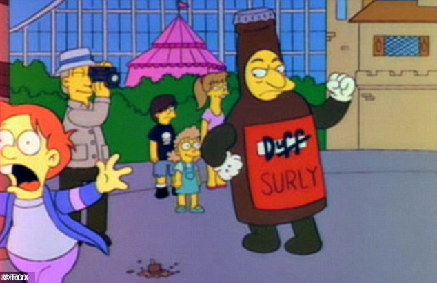 The iconic brew became synonymous with The Simpsons as Homer was often shown knocking back the beer in his favorite bar, Moe's Tavern. Duff Beer even comes with the advertising slogan 'Can't get enough of that wonderful Duff' in the hit TV series