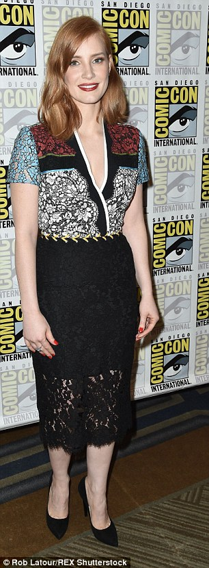 The Interstellar actress opted for a plunging V-necked lacy multi-coloured top for the forum