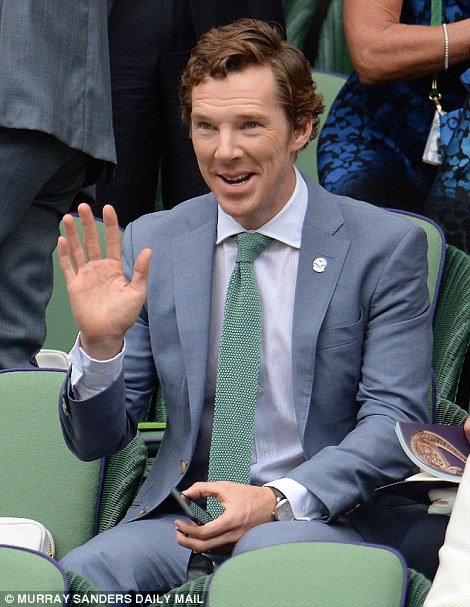 British actor Benedict Cumberbatch was another star watching events inside Centre Court