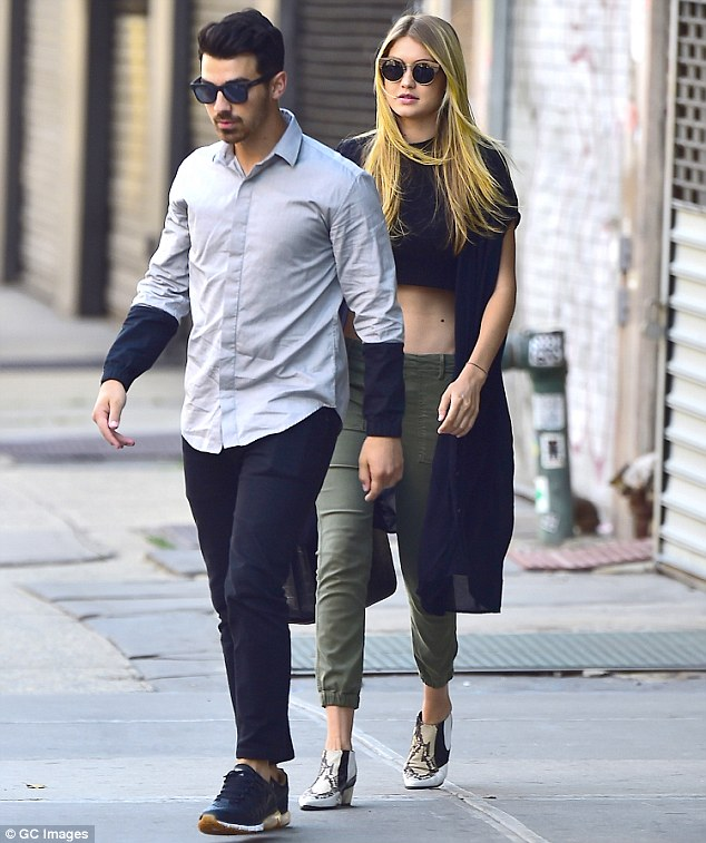 Going strong: Gigi Hadid and Joe Jonas were spotted together in New York City's East Village on Saturday