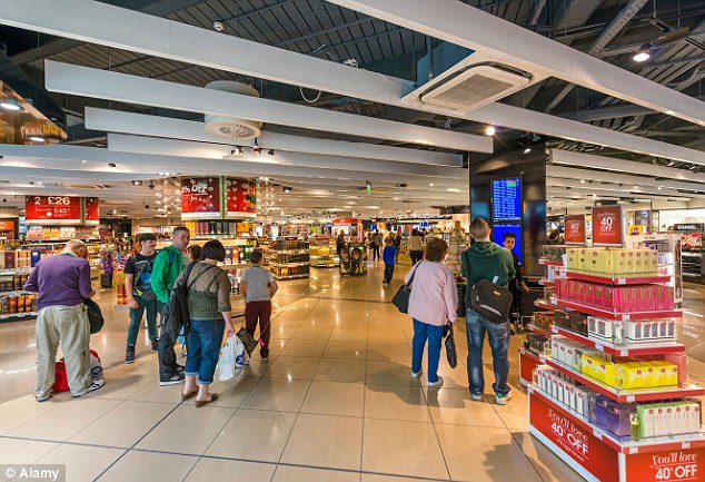 Witnesses said the drunk man knocked over a display cabinet at a duty free shop inside Manchester Airport