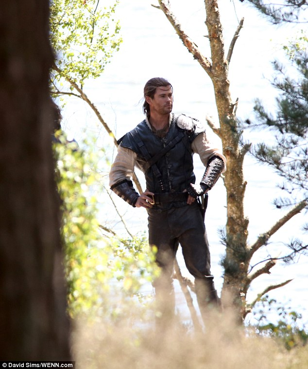 On location: Chris Hemsworth was spotted filming scenes for The Huntsman in South England's Surrey