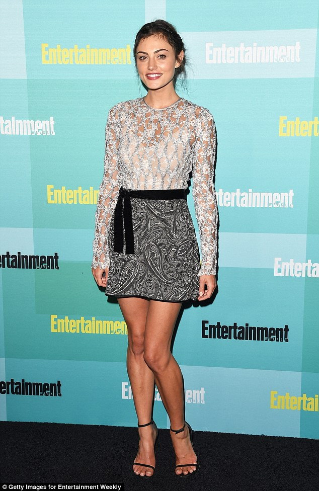 Short and sweet! Phoebe Tonkin showed off her lean legs in a patterned mini skirt