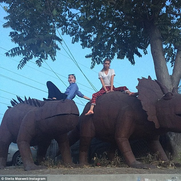 Dinoriders: The day before, Miley had a 'Bad a$$ day with a bad a$$ chick @stellamaxwell' according to further Instagram pics, which show her and her 24-year-old girlfriend riding enormous dinosaur sculptures
