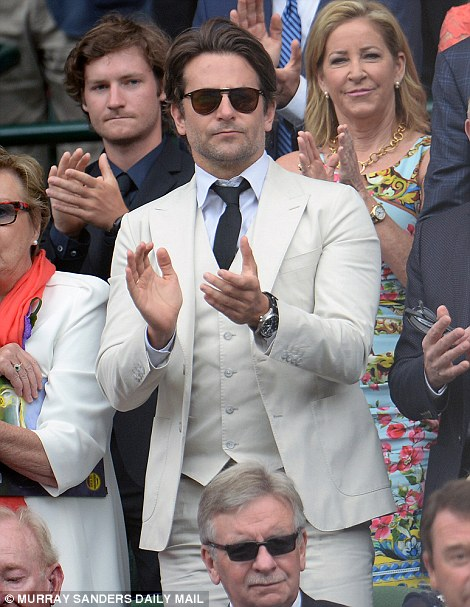 Actor Bradley Cooper was one of many celebrities in attendance on Centre Court