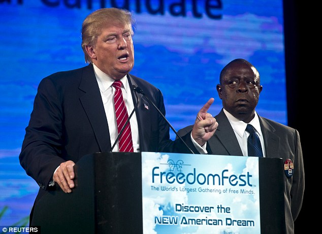 Ally: To bolster his point, Trump brought Jamiel Shaw, right, on stage with him. Shaw's son was shot dead by an illegal immigrant in Los Angeles, and endorsed Trump's presidential ambitions