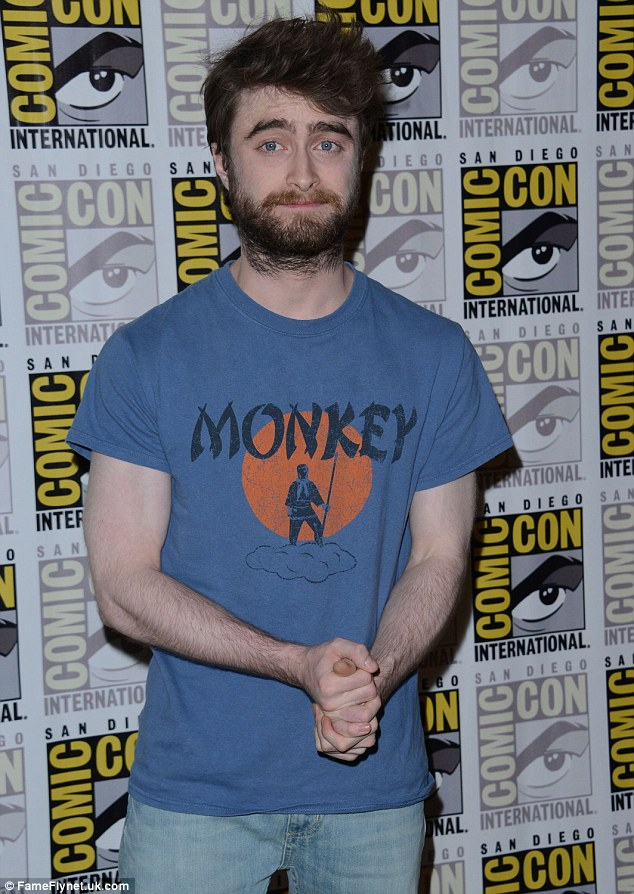 Humble: The Harry Potter star was dressed in a blue Monkey shirt which he teamed with light jeans and white trainers, but all eyes were on his bushy beard