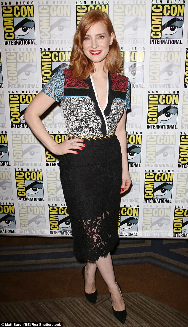 Beauty: Jessica Chastain looked elegant as ever at Comic Con in San Diego on Saturday