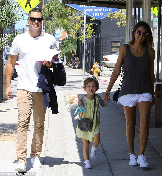 Quality family time! Jessica Alba held her nearly four-year-old daughter Haven's hand during an outing in West Hollywood with husband Cash Warren on Saturday