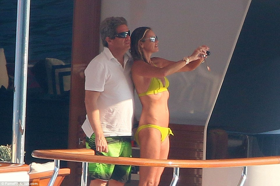 Yacht life: The supermodel was on her husband Jeffrey Soffer's yacht - days after spending time by Italy's Capri