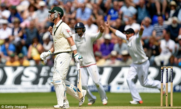 The England slips celebrate as Clarke is caught out during day four of the opening Test in Cardiff