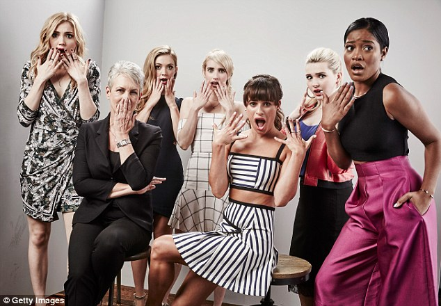 Earlier that day: The two ladies joined Jamie Lee Curtis and their fellow Scream Queens castmate Billie Lourd, Abigail Breslin, and Keke for a photoshoot