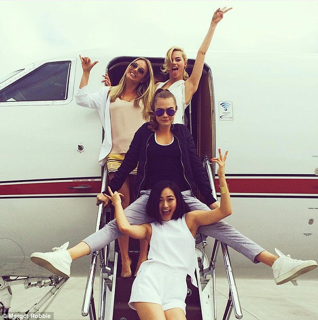 In style: The pair arrived in San Diego on a private jet with some of their co-stars