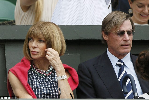 Excitement: Wintour is a huge Roger Federer fan, pictured with husband Shelby Bryan
