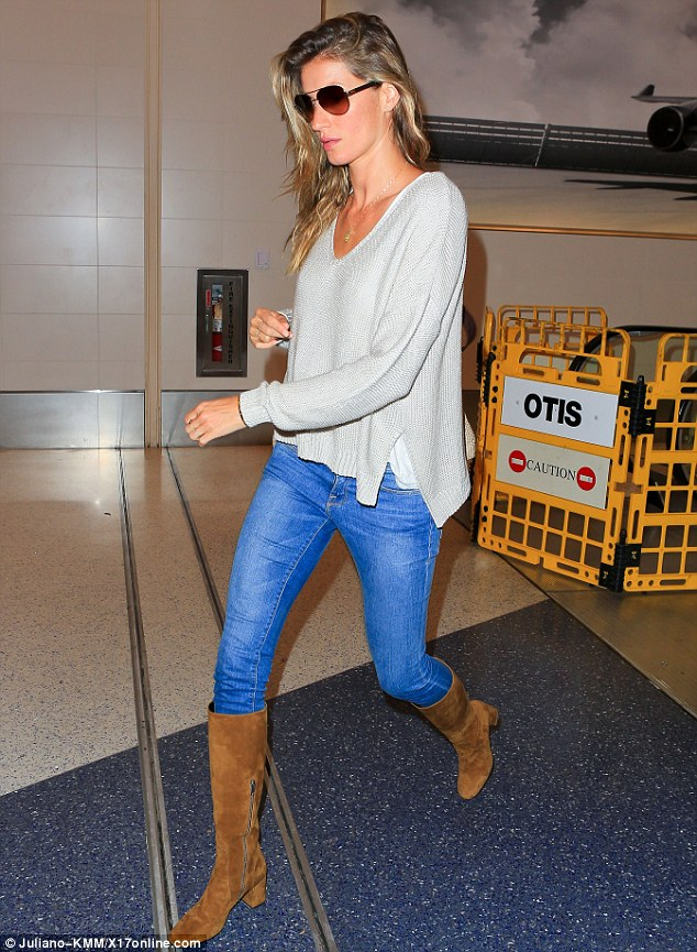 On the run: Busy Gisele Bundchen jetted out of Los Angeles on Saturday just three days after flying in from Canada on Tuesday