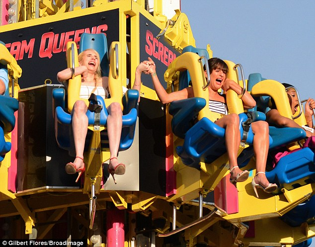 Terrified: Emma Roberts and Lea Michele proved they really are Scream Queens as they took a break from PR duties to ride a roller coaster on Saturday night