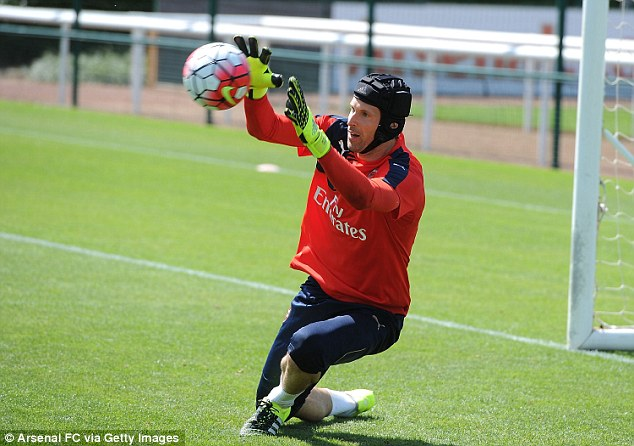 Petr Cech was in training for Arsenal for the first time on Friday at London Colney