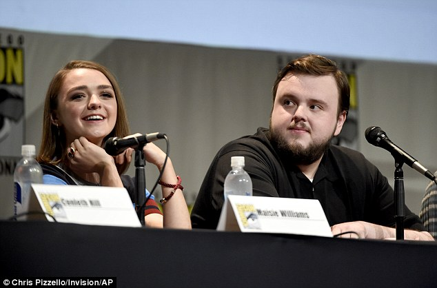 Lovable lad: Maisie was seated next to John Bradley, who plays hapless Samwell Tarly in the show