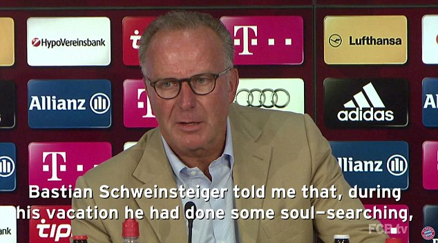 Karl-Heinz Rummenigge describes how the German midfielder revealed he wanted a new challenge