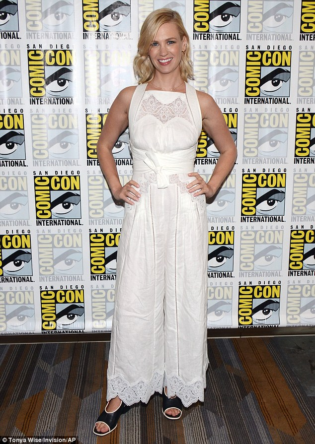 So chic: January Jones wore a white wide-legged  jumpsuit with a lace panel across her chest and around the hem of the trousers at The Last Man On Earth panel at Comic-Con in San Diego, California, on Saturday