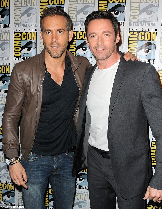 Super hero bromance: Hugh Jackman and Ryan Reynolds were seen embracing at Comic Con 2015 in San Diego