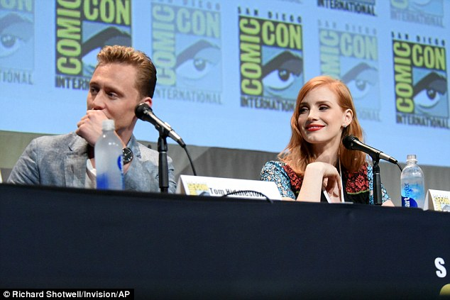Co-stars: The two-time Oscar nominee joined cast members including Tom Hiddleston, left, for the convention