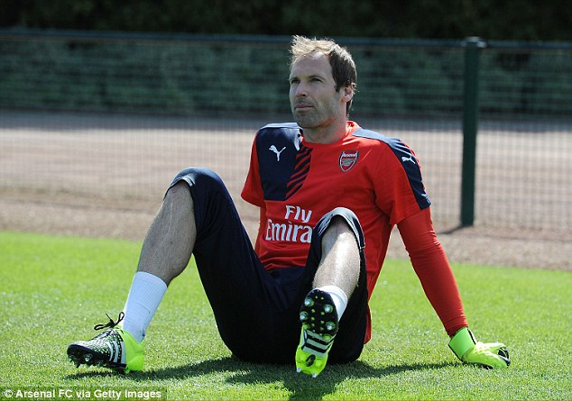 Cech takes a breather during the session as he prepares for his new chapter as the Gunners No 1