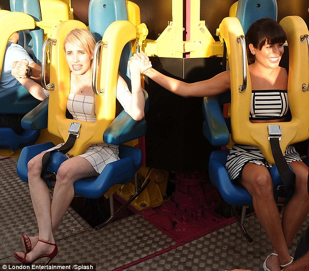 Oh gosh: Emma was seen pulling the most expressive faces in anticipation of the ride