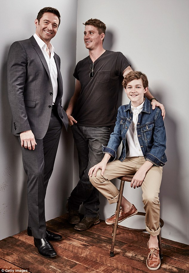 Co-stars: Hugh was later seen posing with Garrett Hedlund and Levi Miller, both of whom he'll be seen across in Pan