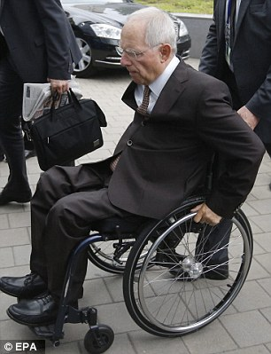 Wolfgang Schaeuble arrives for the start of the Eurogroup finance ministers meeting yesterday