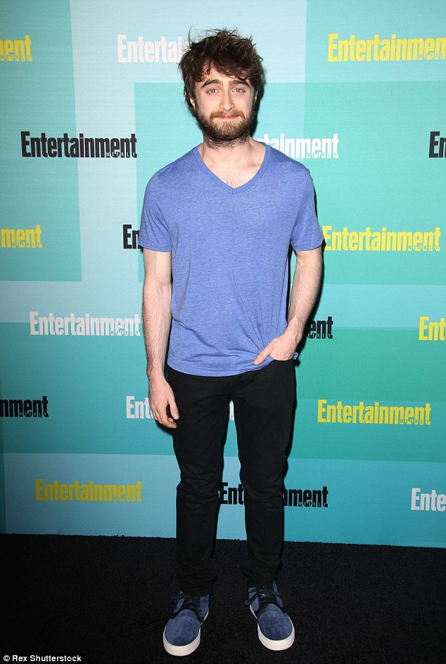 Casual: Daniel Radcliffe wore a light blue T-shirt and black trousers for the event