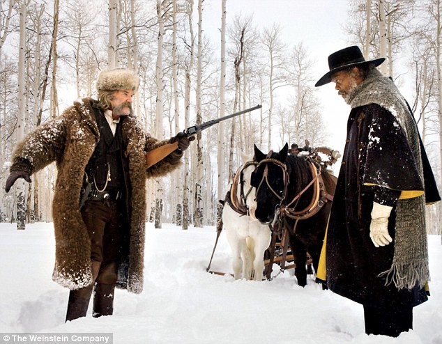 Bounty hunter battle: Seven minutes of footage from the 70mm snowy western was screened for the 6,000 fans packed into the convention center's historic Hall H