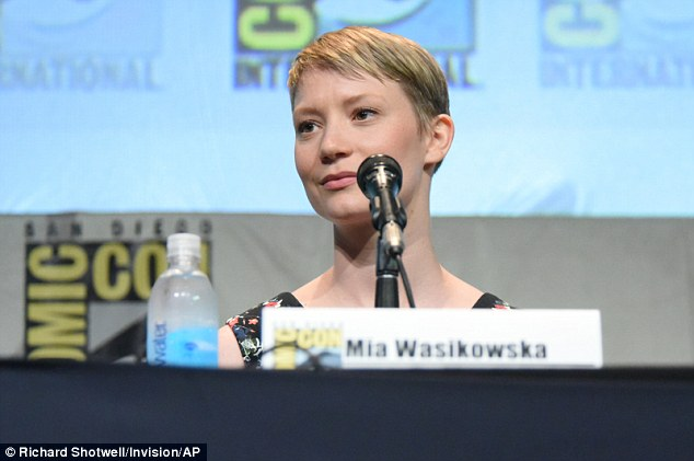 Elfin: Mia Wasikowska, who plays an author in the film, kept her make-up to a minimum and swept her blonde pixie cut to one side