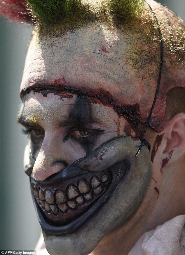 Creepy: Another pulled off a great copycat costume as Twisty the clown from American Horror Story