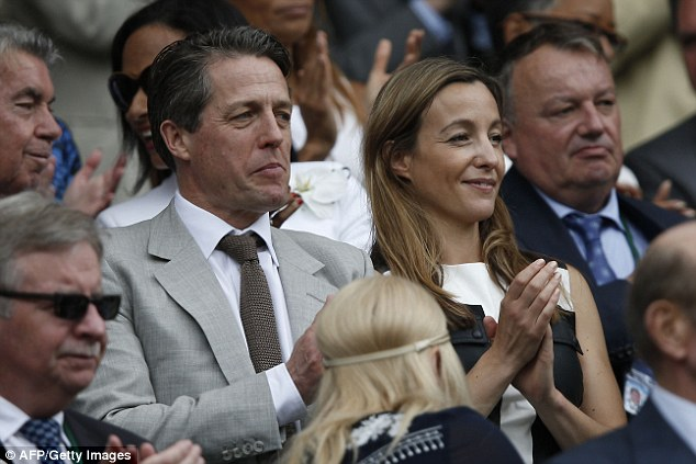 Love, set, match: Hugh Grant took the opportunity to enjoy some tennis on home ground as he was seen at Wimbledon on Sunday with the Anna Elisabet Eberstein, the mother of his third child