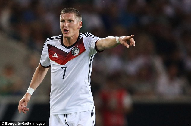 Schweinsteiger calls the shots from his midfield during Germany's pre-World Cup friendly with Armenia