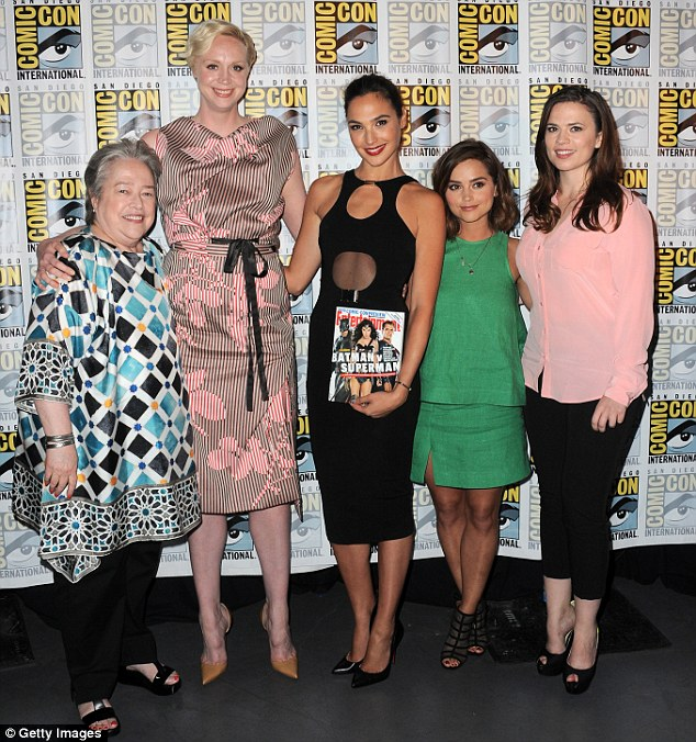 Uniting forces: Also in attendance was Kathy Bates and Jenna Coleman, who all posed up together for a super portrait