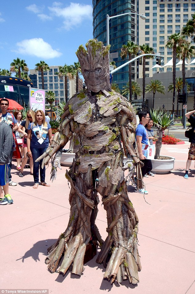 No expense spared: A fan dressed up as Groot from Guardians of the Galaxy