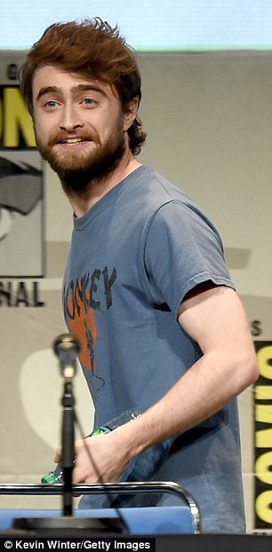 Thumbs up! A big-bearded Daniel Radcliffe worked up a sweat in his monkey T-shirt while promoting Victor Frankenstein