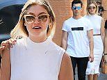 14.JULY.2015 - NEW YORK - USA *** STRICTLY NOT AVAILABLE FOR MAIL ONLINE AND ANY ONLINE SUBSCRIPTION DEALS UNLESS FEE AGREED PRIOR TO USAGE*** AMERICAN FASHION MODEL GIGI HADID AND AMERICAN SINGER AND ACTOR JOE JONAS TAKE A WALK IN SOHO AFTER LUNCHING AT ST. AMBROEUS IN NYC.  BYLINE MUST READ : XPOSUREPHOTOS.COM ***UK CLIENTS - PICTURES CONTAINING CHILDREN PLEASE PIXELATE FACE PRIOR TO PUBLICATION *** **UK CLIENTS MUST CALL PRIOR TO TV OR ONLINE USAGE PLEASE TELEPHONE 44 208 344 2007**
