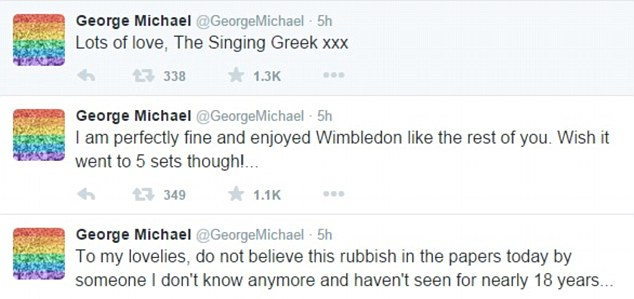 Denial: George took to Twitter to hit out at claims in a Sunday newspaper that had been addicted to crack cocaine