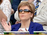 Image ©Licensed to i-Images Picture Agency. 11/07/2015. London, United Kingdom. Nicola Sturgeon in the Royal box watching Serena Williams v Garbine Muguruza  in The Final of the Ladies' Singles on Centre Court on day 12 of the Wimbledon Tennis Championships.Picture by Andrew Parsons / i-Images