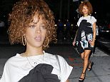 New York, NY - Rihanna puts in another night of hard work at a recording studio in New York City.  The 27-year-old pop star wore a black dress with graphic design over a white t-shirt and a pair of wedge black sandals.\nAKM-GSI           July 14, 2015\nTo License These Photos, Please Contact :\n \n Steve Ginsburg\n (310) 505-8447\n (323) 423-9397\n steve@akmgsi.com\n sales@akmgsi.com\n \n or\n \n Maria Buda\n (917) 242-1505\n mbuda@akmgsi.com\n ginsburgspalyinc@gmail.com