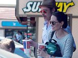 139942, EXCLUSIVE: Brad and Angelina takes kids Shiloh and Pax to a Toys R Us in Glendale. Los Angeles, California - Friday July 10, 2015. Photograph: Juan Sharma/Bruja, © PacificCoastNews. Los Angeles Office: +1 310.822.0419 sales@pacificcoastnews.com FEE MUST BE AGREED PRIOR TO USAGE