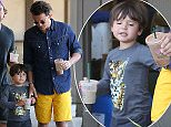 Please contact X17 before any use of these exclusive photos - x17@x17agency.com   Orlando Bloom takes Flynn for a smoothie at Sunlife  a day after he met his ex Miranda Kerr there.  July 14, 2015 X17online.com