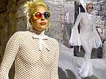 Lady Gaga leaving a Restaurant in Perugia, Italy. 13 July 2015.  14 July 2015. Please byline: SGP/Vantagenews.co.uk