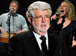 FILE - In this Jan. 15, 2014 file photo, Don Henley, left, and Glenn Frey of The Eagles perform at the Forum in Los Angeles. A list of six Kennedy Center honorees were announced Wednesday, which includes ìStar Warsî creator George Lucas, groundbreaking actresses Rita Moreno and Cicely Tyson, singer Carole King, rock band the Eagles and acclaimed music director Seiji Ozawa. (Photo by John Shearer/Invision/AP, File)